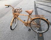 Vintage Rattan And Bamboo Working Life Size Bicycle Boho Paris Apt.