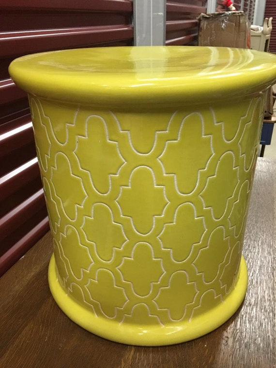 Astonishing Bright Yellow Glazed Ceramic Moroccan Garden Stool Moroccan Magic Quatrefoil Details Free Shipping This Item Ncnpc Chair Design For Home Ncnpcorg