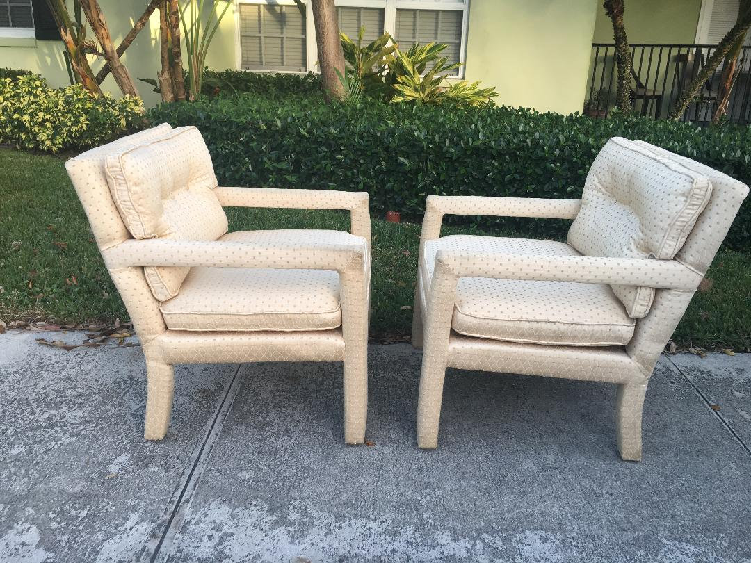 Parsons Project Pair Of Cream Colored Parson Style Chairs Modern Decor