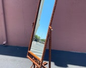 Vintage Tortoise Rattan Cheval Full Length Rotating Mirror With X Details, Leather And Brass 74 3 4 x 25 3 4 Fully Finished On The Back