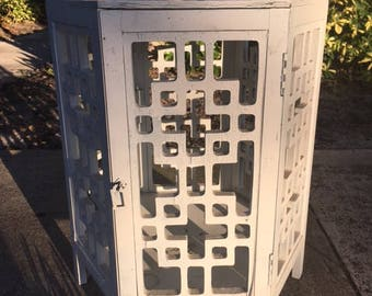 A SHABBY CABBY / Very Shabby Geometric Fretwork Side Cabinet / Door That Opens / Repaint Or Use 'As Is'