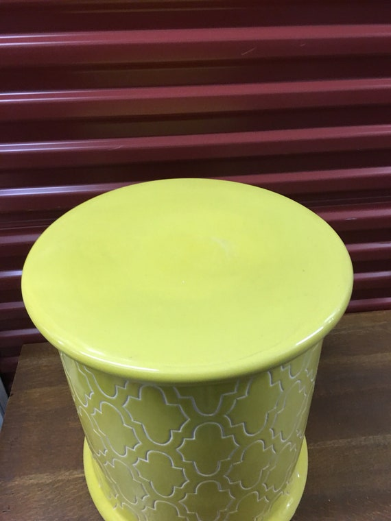 Marvelous Bright Yellow Glazed Ceramic Moroccan Garden Stool Moroccan Magic Quatrefoil Details Free Shipping This Item Machost Co Dining Chair Design Ideas Machostcouk
