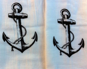Screen Printed Nautical Anchor Flour Sack Towels