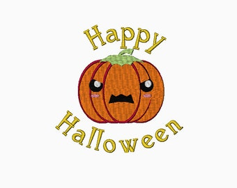 Happy Halloween Jack O Lantern machine embroidery design INSTANT DOWNLOAD
