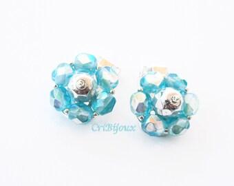 Light blue earrings, PRIORITY MAIL SHIPPED, clips, clip-on earrings, blue flower earrings, mom gift crystal clip earring bead glass earrings