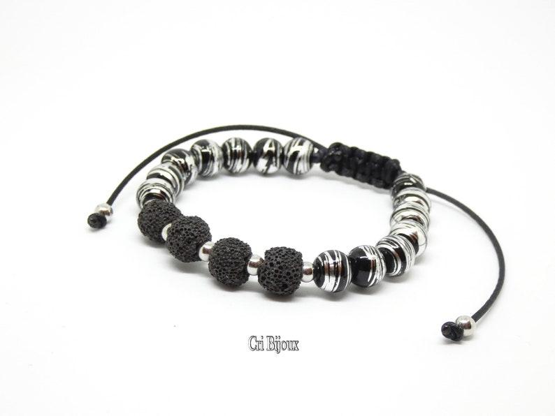 8b5915435e2 Bracelet pierre volcanique bracelet homme noir bracelet en