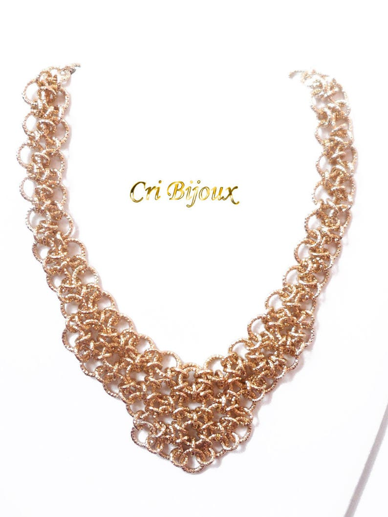 Gold Hypoallergenic light Aluminum Necklace Handmade with Chainmail Technique Golden Chainmaille Jewelry Gift for Christmas and Wedding