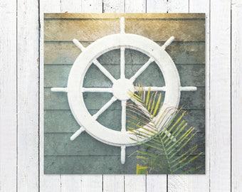 Ship Wheel Nautical Decor Print | Coastal Decor Beach | Coastal Wall Art | Captains Wheel | Nautical Wall Decor | Rustic Nautical Decor Art