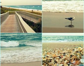 Beach Photography Set of 4 Prints | Turquoise Wall Art Prints | Beach Wall Art Decor | Photograph Print | Ocean Art Prints, Seashells, Beach