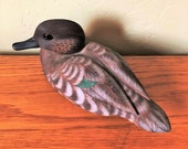 Carved Duck Decoy Green Winged Teal SIGNED Donald Chittick, Decorative Wood Duck Decoy, Cabin Decor, Lodge Decor, Hunting Deco
