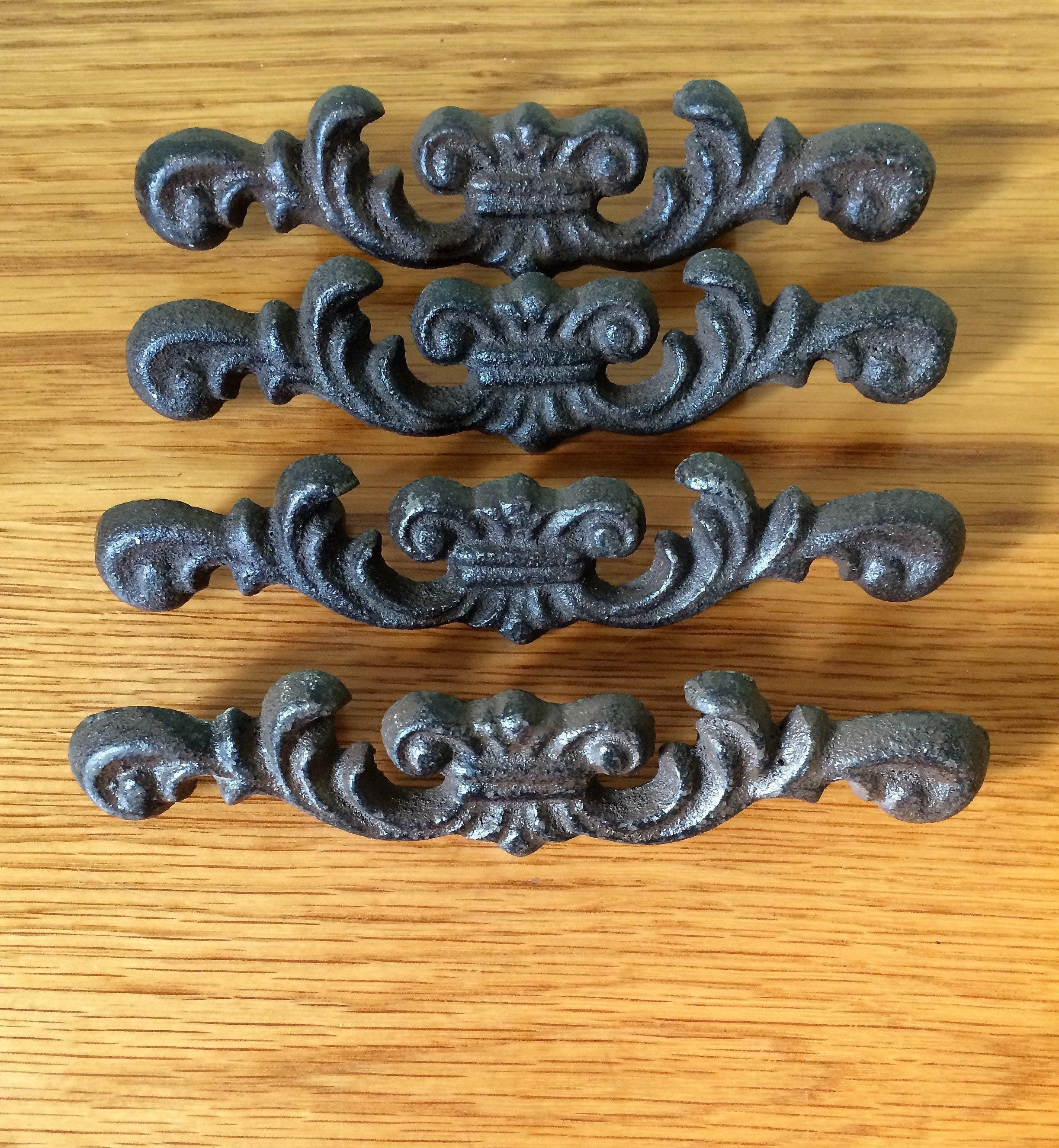 Set 5 Fleur De Lis Metal Dresser Furniture Pull Handle Brown Finish