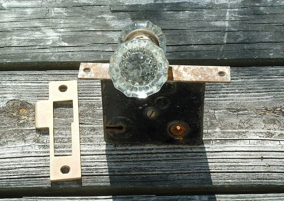 Glass Door Knobs Crystal With Lockset And Brass Strike Plate Etsy