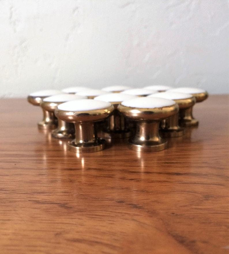 Small Ceramic Cabinet Drawer Knob  3//4 inch White Lot 6