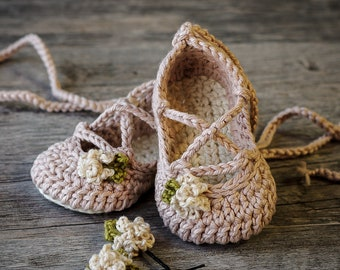 Crochet Baby Pattern Strappy Ballet Flats - Baby Ballerina - 3 sizes & 3 variations included - Newborn - 12 months - Instant Download kc550