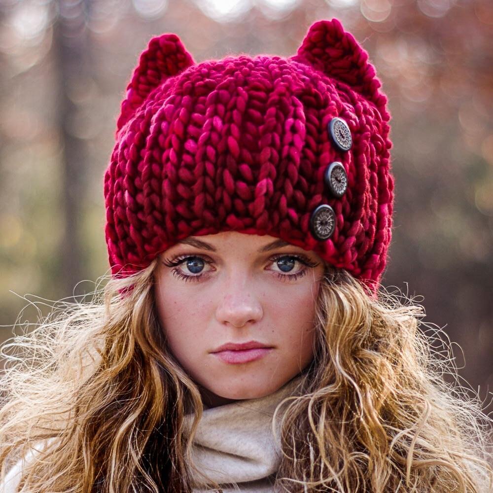 Crochet Cat Hat Pattern Super Bulky Fast Crochet Knit Look Etsy