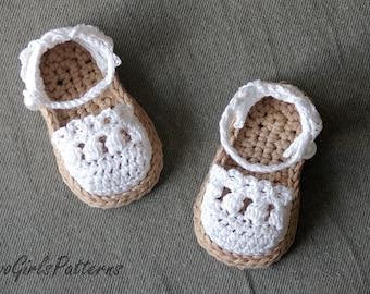 Crochet Pattern for Baby Espadrille Sandals - Crochet pattern 119 - Instant Download L