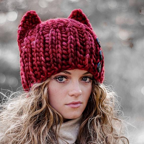 CROCHET Cat Hat Pattern - Super Bulky fast crochet - Knit Look Crochet - Baby Toddler Child Adult - Instant Download -   kc550