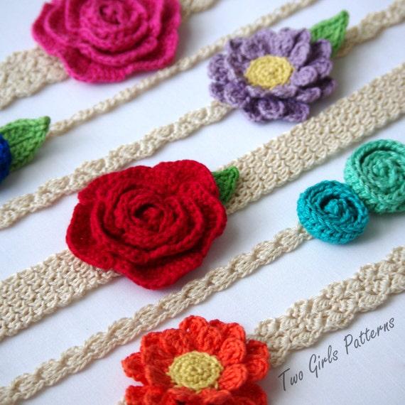 Crochet Headband Pattern Pack 6 Headbands 3 Flower Patterns Etsy
