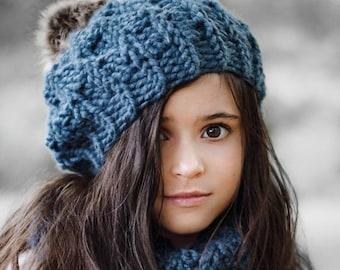 CROCHET Hat & Cowl Pattern - Super Bulky fast crochet - Indigo Set - Infant Baby Toddler Child Adult - Instant Download -   kc550