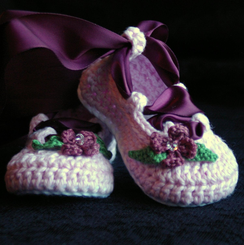 Crochet Pattern 202 Baby Ballerina Ballet Slippers Pdf Etsy