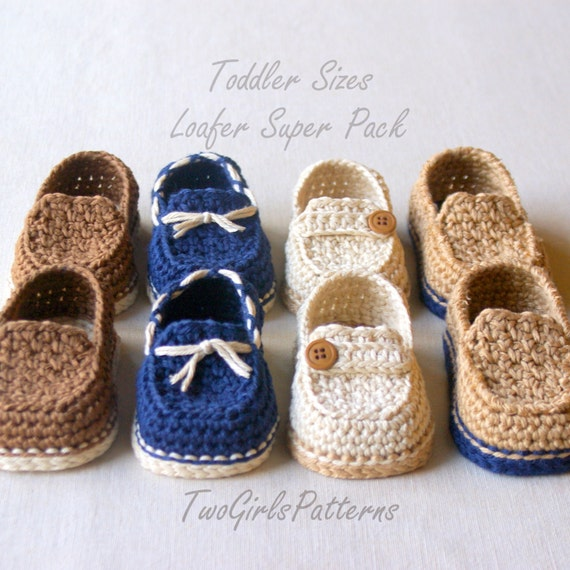 Crochet Pattern  Toddler Sizes Loafers Super Pattern Pack
