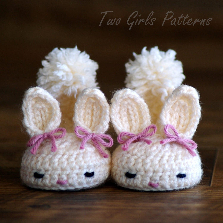 Crochet Pattern 204 Baby Booties Bunny Slipper Instant Etsy