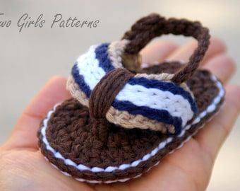Baby Booties Crochet Pattern for Sporty Baby Flip Flop Sandals - Crochet Pattern number 116 - Instant Download L