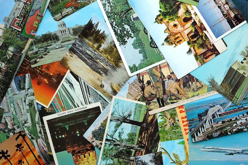Random assortment of 5 vintage unused color postcards  vintage postcard bundle for journals scrapbooking collecting