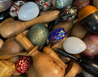 Replenished! Vintage darning egg, mushroom, or sock form for sewing, mending, repair. Wood or glass. With or w/o handle. Plain or painted.