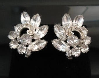ON SALE Vintage Rhinestone Clip On Earrings Retro Collectible Costume Jewelry