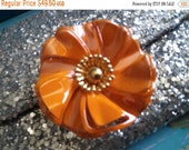 Vintage Orange Gold Flower Metal Brooch 1950 39 s 1960 39 s Flower Power Enamel Jewelry Pop Art Hippy Boho Wedding Bouquet Bridal Accessories