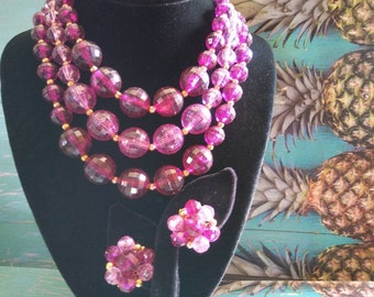 f0ad7c95646f57 Lovely Vintage Purple Multi 3 Strand Necklace & Earring Set, New Old Stock  Mid Century 1950's 1960's Collectible Fashion Costume Jewelry