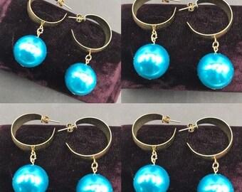 Aqua Crystal Earrings Dangle Earrings Volleyball Earrings Volley Ball Earrings Gifts for Her 374 Team Sport Earrings