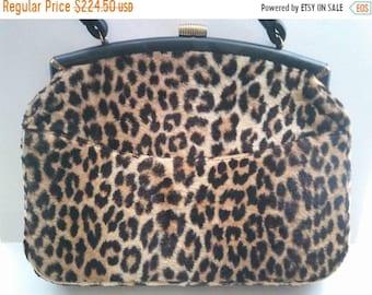 dc5bc973a93d 1960's Vintage Leopard Faux Fur Signed Ingber Large Handbag * Retro  Rockabilly Mid Century Purse * Old Hollywood Regency Glamour