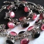 Rare Retro Rockabilly Rhinestone Necklace Bracelet Set Chunky Black & Pink Demi Parure 1950s 1960s Old Hollywood Glamour Girl Selro Jewelry