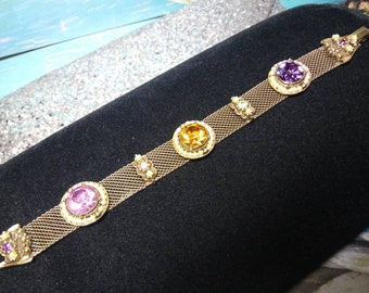 eb8b9d593f6d97 Rare Vintage Yellow Pink Purple Rhinestone Faux Pearl High End Hard To Find  Chunky Bracelet - Retro 1950's 1960's Jewelry