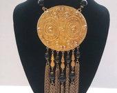 Huge Pendant Goldette Signed Necklace, 50 39 s 60 39 s Statement Jewelry, Old Hollywood Glam, Gift Idea For Her, Runway Designer Necklace
