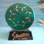 Vintage Green Compact Unsigned Mid Century Modern Home Decor Art Deco Vanity Collectible 1950's 1960's