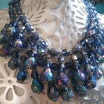 Blue Crystal Glass Vintage Necklace, Dangle Drop Fringe Tassel Bib Statement Necklace, 1950's 1960's Jewelry, Old Hollywood Glamour