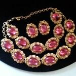 Rare Vintage Tara Parure Pink Rhinestone Designer Signed 1950s High End Old Hollywood Glam Jewelry Necklace Bracelet Earring Set
