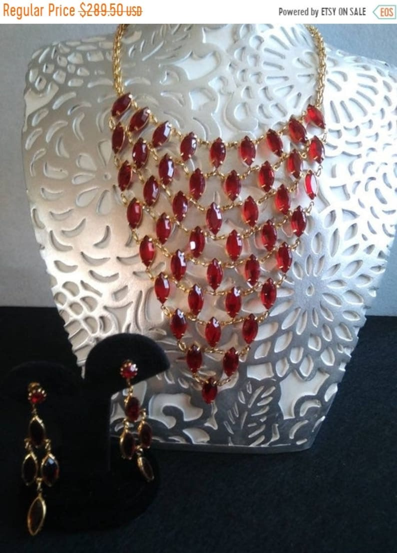 Red Glass Bib Necklace & Earring Set 1960's Mid Century image 0