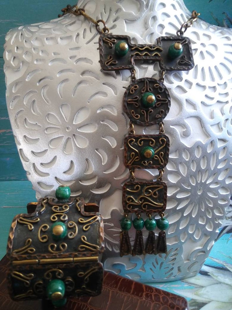 High End Hard To Find Rare Jewelry Vintage Mexico Copper /& Green Beaded Statement Necklace and Hinged Bracelet Set