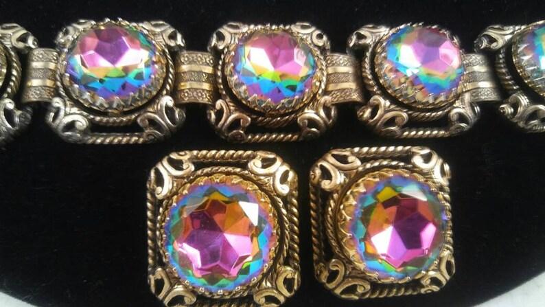 Vintage Rhinestone Bracelet Earring Set Headlight Demi Parure image 0