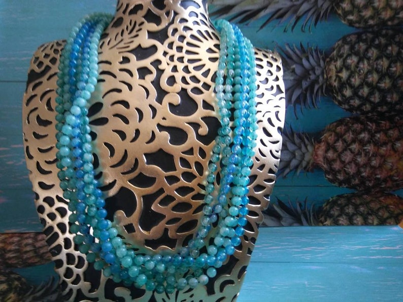 Vintage Statement Necklace Blue Green Chunky Necklace 1960s image 0