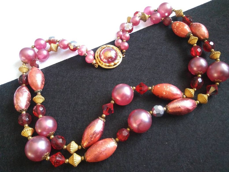 Vintage 1950s Chunky Beaded Multi 2 Strand Maroon Purple Necklace Retro Mid Century Collectible Rockabilly Germany Jewelry 1960s Accessories