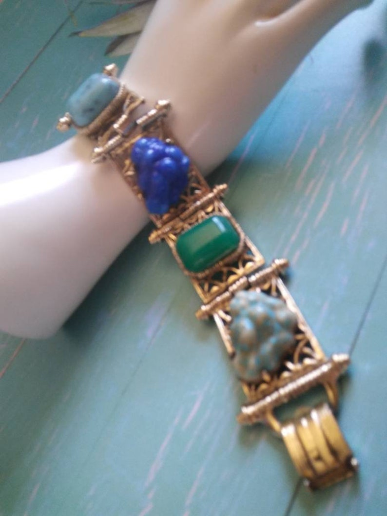 Selro Style Blue Green Red Aqua Stone Retro 1950/'s 1960/'s Jewelry VINTAGE 1960/'S TURQUOISE Carnelian Lapis Glass Wide Chunk Bracelet
