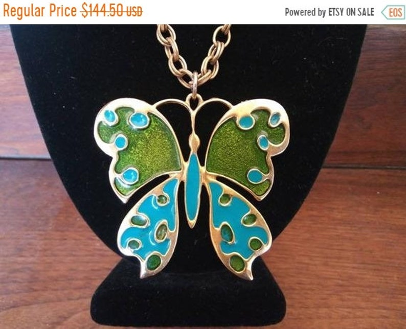 Aqua Green Butterfly Pendant Necklace Large 1980's Signed image 0
