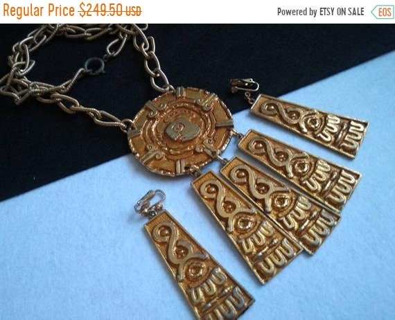 King Tut and Isis necklace Egyptian Revival style