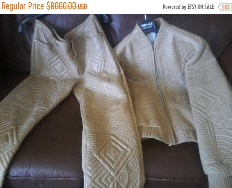 Gianni Versace Beige Leather Jacket & Pants High End Vintage image 0