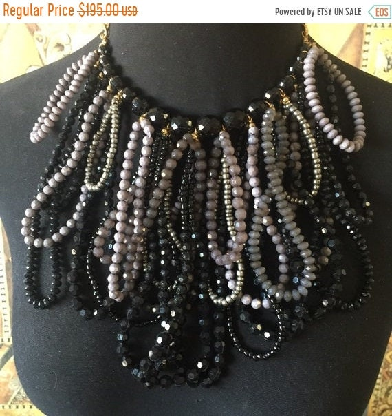beaded necklace African necklace Statement necklace Black necklace Rope necklace red bead necklace bib necklace Gray necklace
